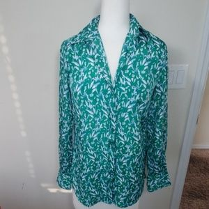 J crew  teal and white Sz XS button down top